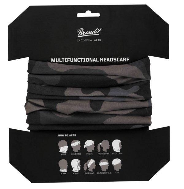 Brandit monikäyttöinen putkihuivi darkcamo pakkaus