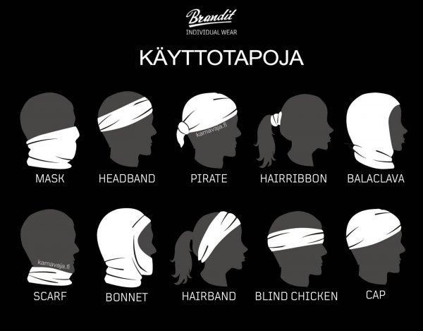 Brandit putkihuivin voi pukea päälleen useilla eri tavoilla - tavallinen kaulahuivi vai sokea kana?