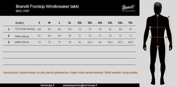 Brrandit Frontzip Windbreaker kokotaulukko